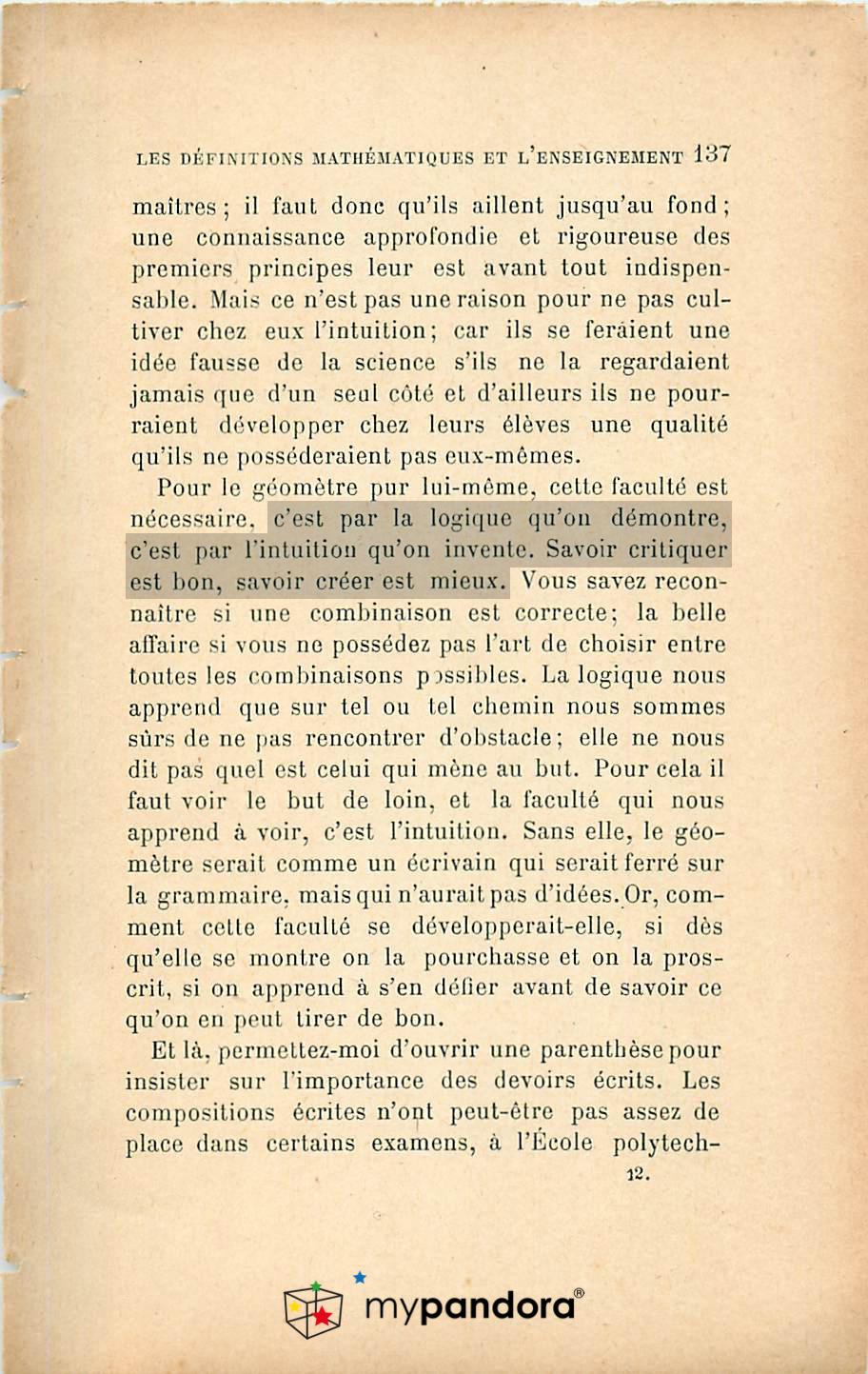 Livre Jules Henri Poincaré Science et Méthode, Paris 1908, Flammarion